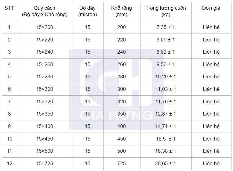 Bảng giá màng co nhiệt 15 micron nhiệt