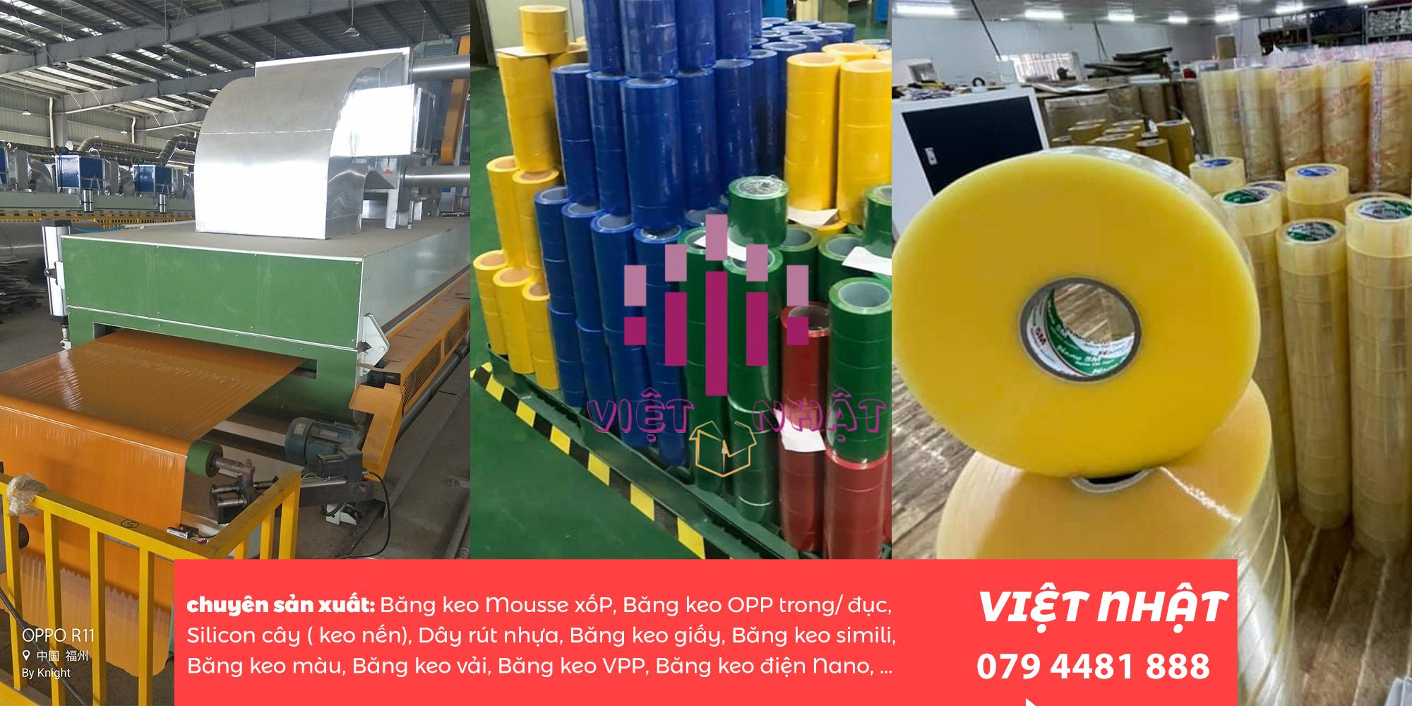 Với máy móc hiện đại việt nhật tự tin cung cấp nhiều loại băng keo vải với nhiều quy cách sản phẩm khác nhau